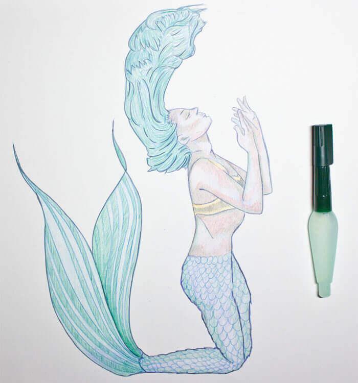 Aquarellbuntstiftkolorierung vermalen mit Wasser
