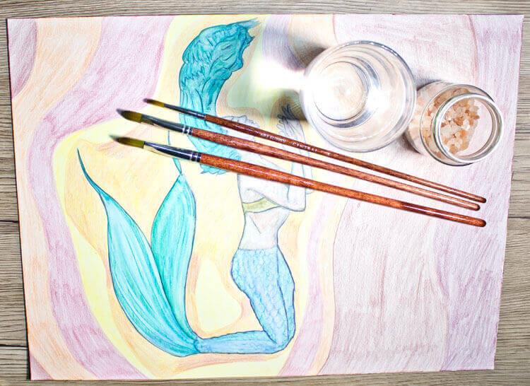 Buntstiftkolorierung Hintergrund mit Wasser vermalen