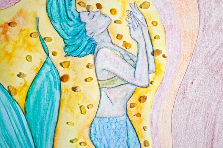 Hintergrund mit Wasser vermalen und Salzeffekt 2