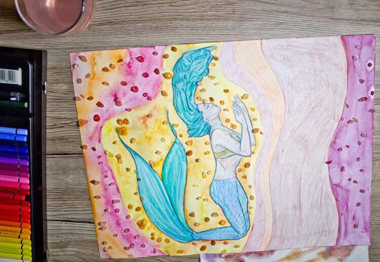 Hintergrund mit Wasser vermalen und Salzeffekt 3