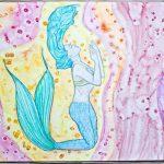 Meerjungfrau Aquarell mit Salztechnik
