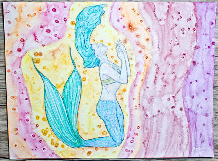 Aquarell Meerjungfrau mit Glitter
