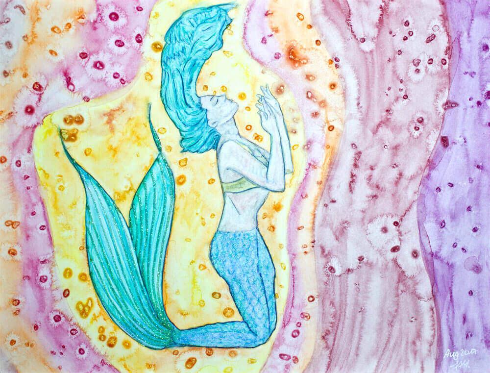 Meerjungfrau Aquarell mit Salzeffekt und Glitter