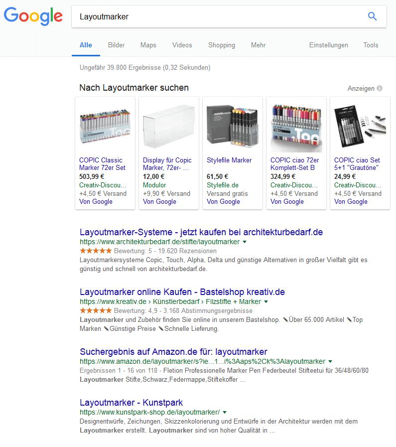 Google Suche Layoutmarker - Müssen es die Kunstmaterialien sein?