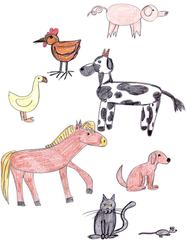 Zeichnen wie ein Kind - Bauernhoftiere