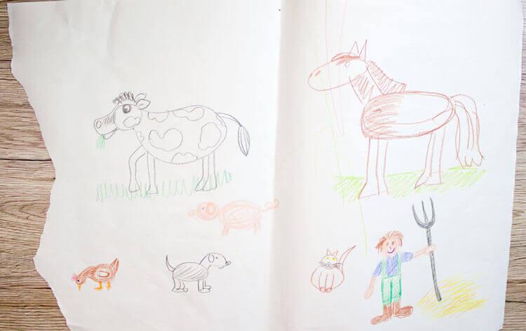 Zeichnen wie ein Kind - Gekritzel Bauernhof
