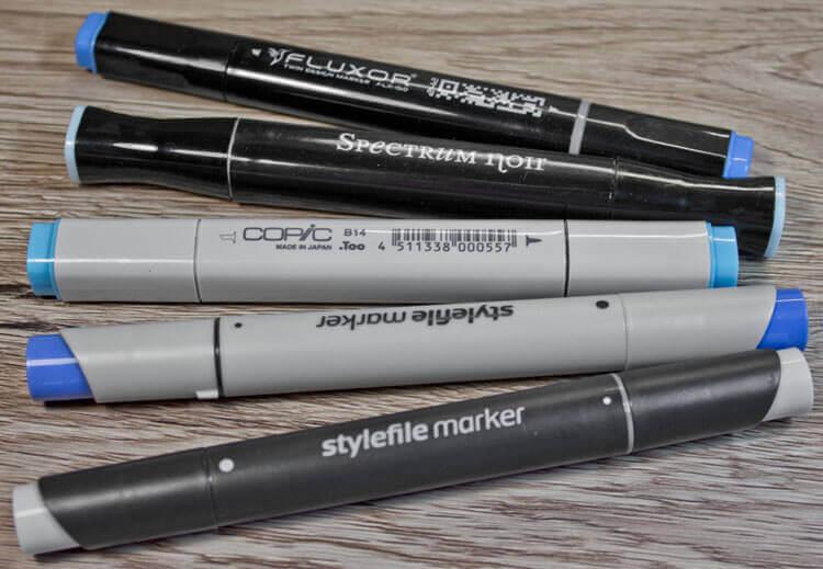 Benutze Layoutmarker auf einen Blick: Copic, Spectrum, Noir, Fluxor und Stylefile sowie Stylefile Brush