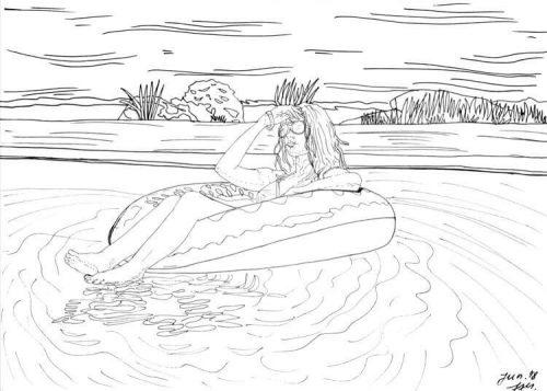 Finelinerkonturen Schönheit im Pool