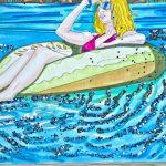 Markerkolorierung Schönheit im Pool fertig - Detailansicht