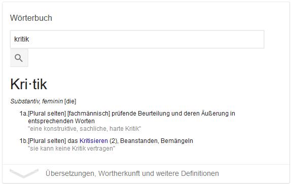 "Screenshot der Google Suche nach ""Kritik"""