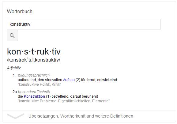 """Screenshot der Google Suche nach """"konstruktiv"""""""