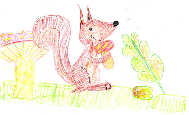 Eichhörnchen gemalt mit Stabilo Trio Buntstiften dick