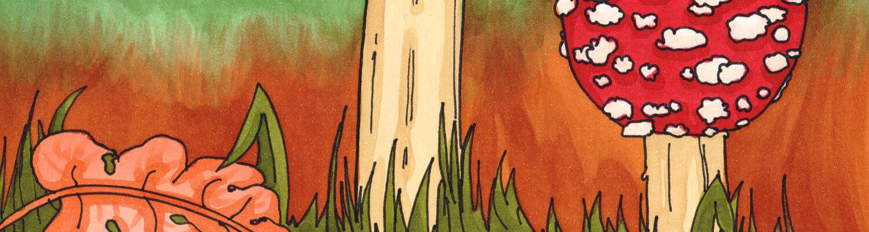 Pilze zeichnen und malen mit Markern