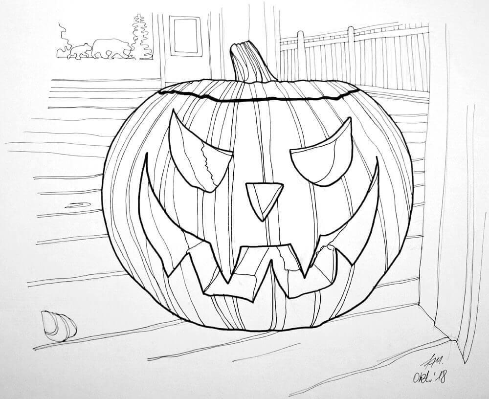Halloween Kürbis malen mit Markern - Finelinerkonturen