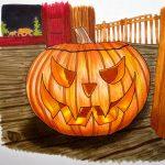 Halloween Kürbis malen mit Markern - Fertiges Kürbisbild