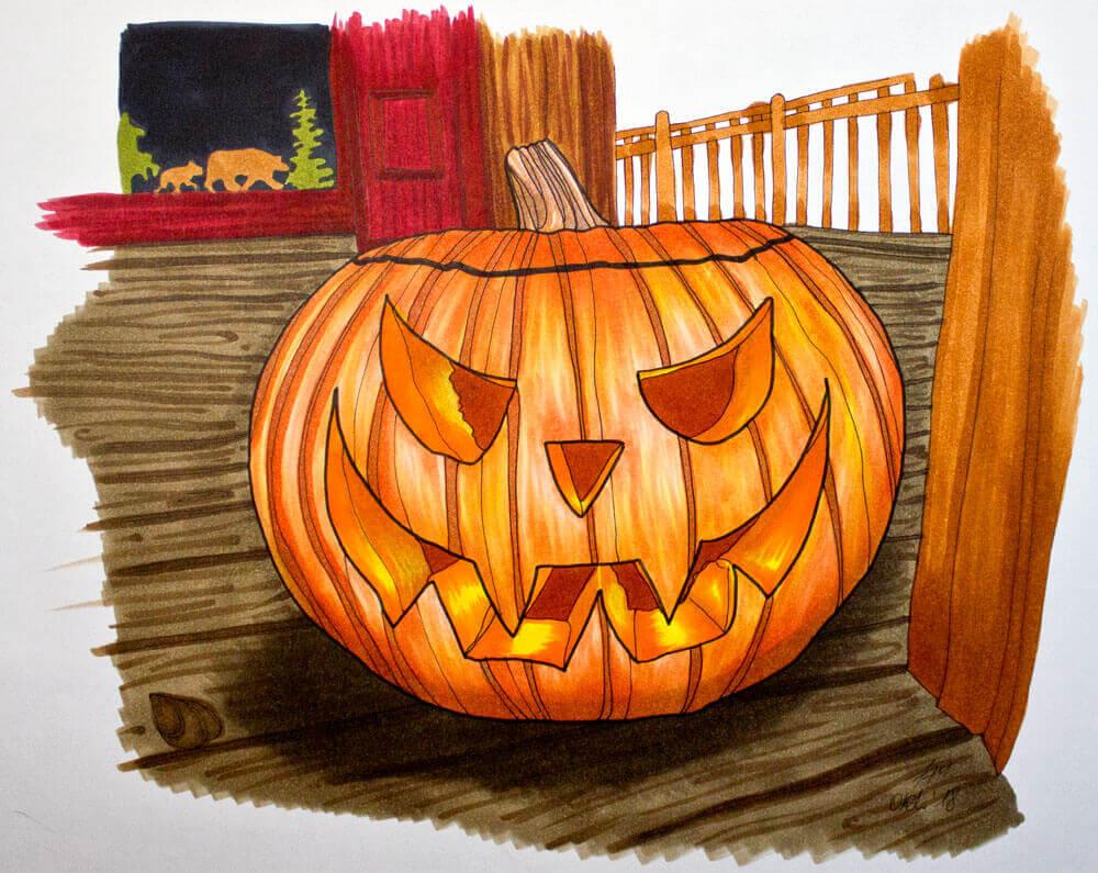 Halloween Kürbis malen mit Spectra AD Markern