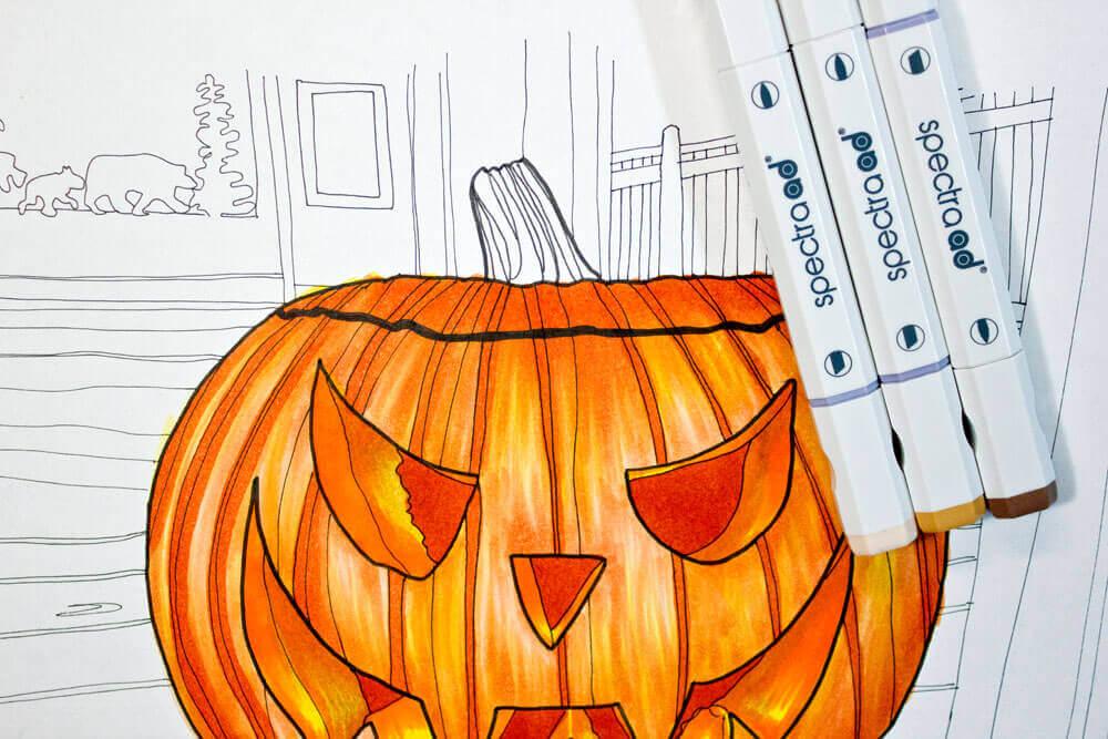 Mit Spectra Ad Marker einen Halloween Kürbis malen