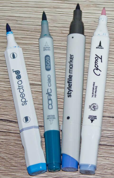 Verwendete Brushmarker - Marker mit Pinselspitze