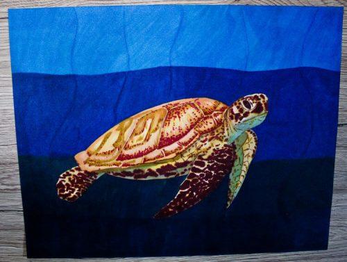 Meeresschildkröte malen mit Brushmarker 7