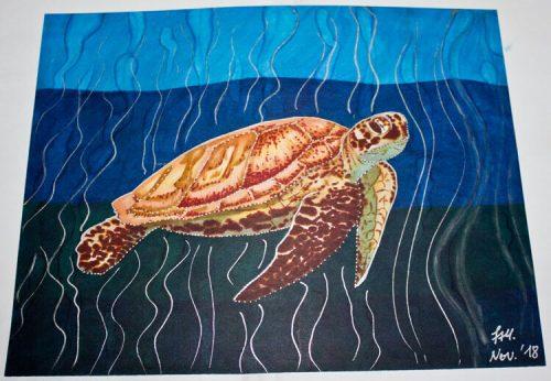 Meeresschildkröte malen mit Brushmarker 8