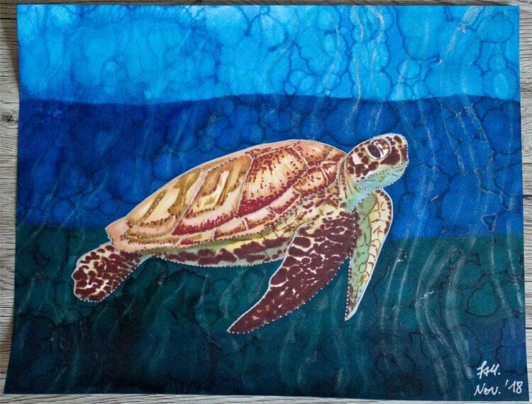 Meeresschildkröte malen mit Brushmarker fertig