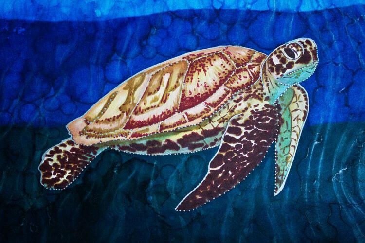 Meeresschildkröte malen mit Brushmarker fertig Detailansicht