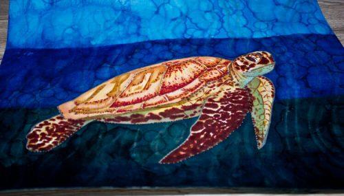 Meeresschildkröte malen mit Brushmarker fertig Schrägansicht