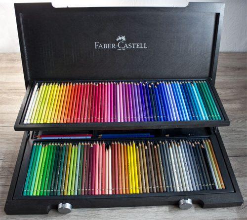teure Kunstmaterialien: Faber-Castell Polychromos Buntstifte 120er Holzkasten