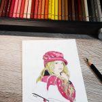 Mädchen malen mit Polychromos
