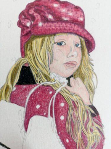 Mädchen mit Schlittschuhen - Zwischenschritt 2