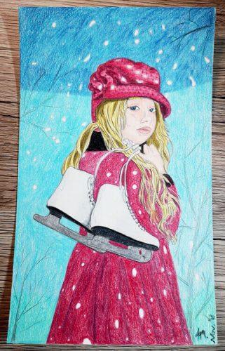 Mädchen malen mit Polychromos Zwischenschritt 6