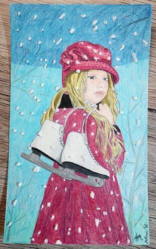 Mädchen malen mit Polychromos - Fertiges Bild