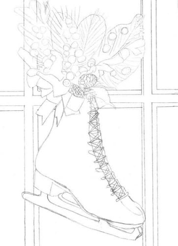 Schlittschuh am Fenster Bleistiftskizze