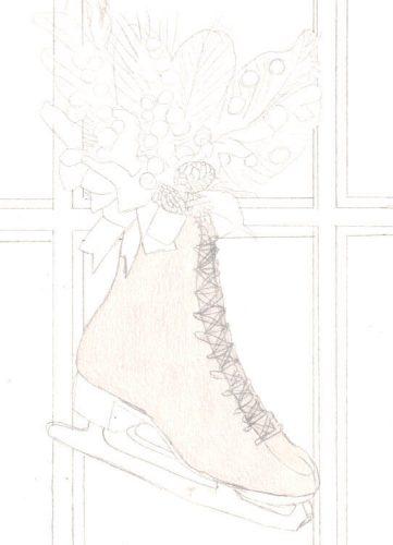 Schlittschuh am Fenster Buntstiftkoloration mit Prismacolor 1