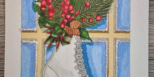 Schlittschuh am Fenster Buntstiftkoloration mit Prismacolor malen