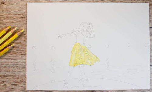 Schneewittchen Eiskunstläuferin Buntstiftkolorierung - Zwischenschritt 1