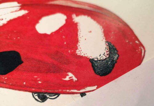 Marienkäfer malen mit Prismacolor Buntstiften - Zwischenschritt 2