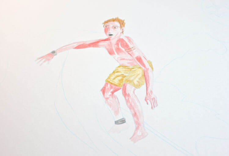 Surfer Wassermann Kolorierung mit Aquarellbuntstift 2