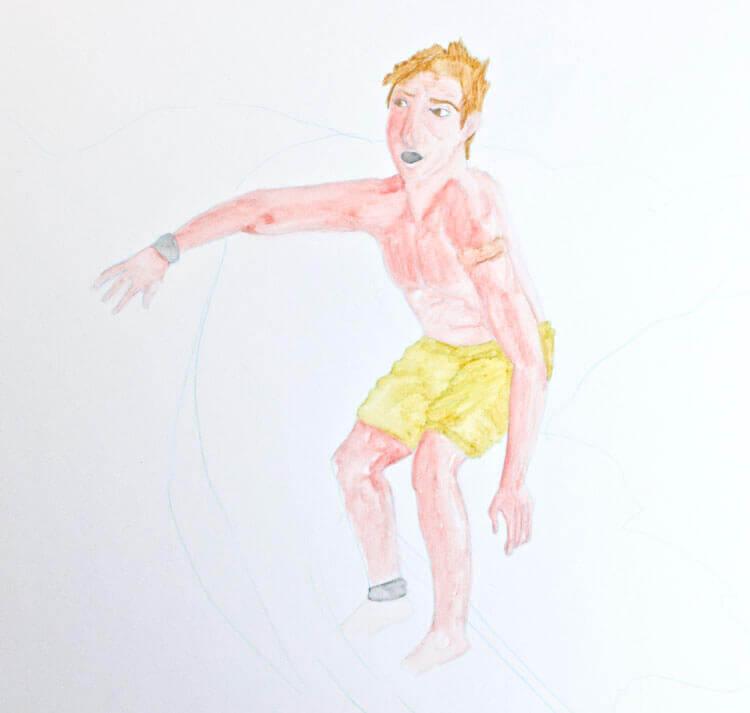 Surfer Wassermann Kolorierung mit Aquarellbuntstift 3