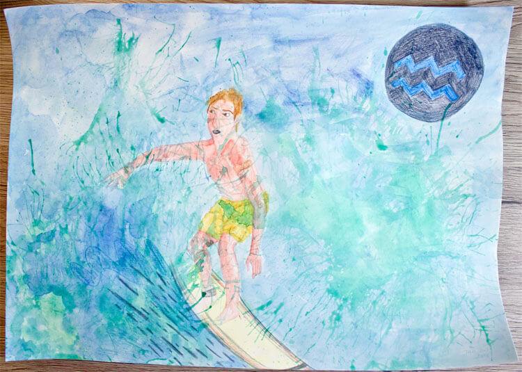 Kolorierung mit Aquarellfarbe und Aquarellbuntstift