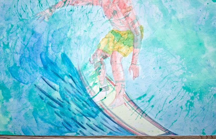Kolorierung mit Aquarellfarbe und Aquarellbuntstift im Detail