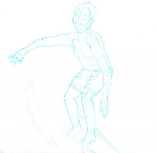 Skizze 1 mit hellblauem ENO Bleistift