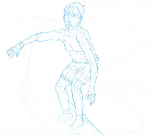 Surfer Wassermann Skizze 2 mit dunkelblauem ENO Bleistift