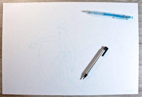 Surfer Wassermann Zeichnung auf Aquarellpapier