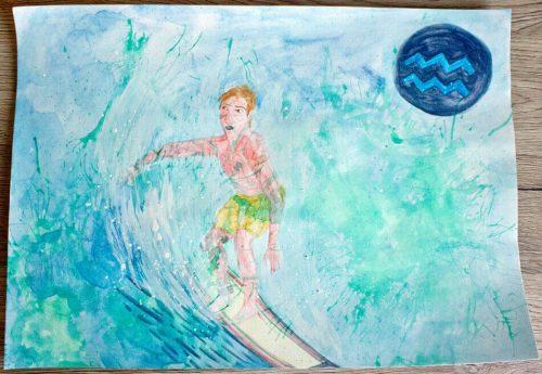 Surfer Wassermann fertiges Bild