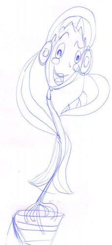 Blumenmädchen singt - Skizze