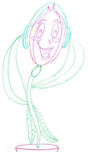 Blumenmädchen singt - Comic Blume zeichnen