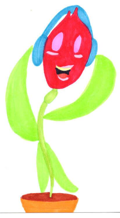 Blumenmädchen singt - Markerkolorierung