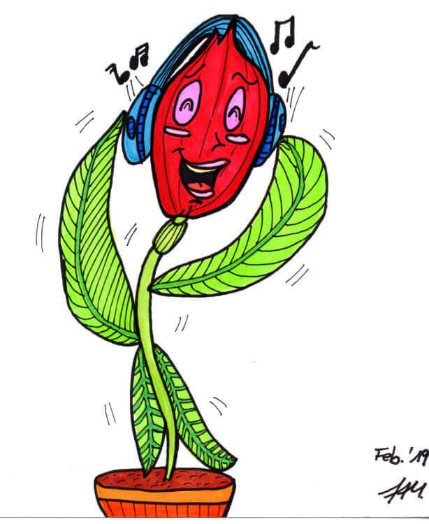 Blumenmädchen singt - Finelinerdetails