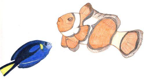 Buntstiftzeichnung Sternzeichen Fische